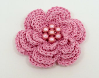 Large candy pink crochet 4 layer flower brooch (3 ins diameter)