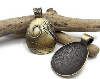 Large pendant colour Tibetan bronze antique egg - A008