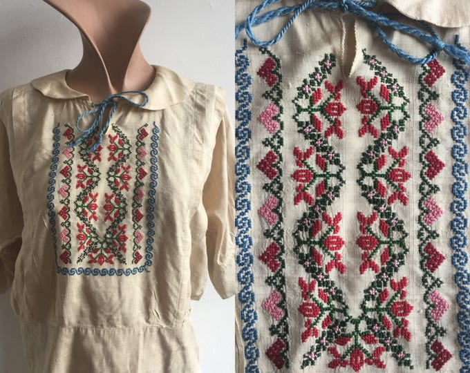 1910s Silk Embroidered Peasant Blouse, size xs