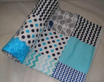Baby Blanket, Nursery Decor, Crib Blanket, Fleece Blanket, Chevron Nursery Accessories, Blue and Navy Blue Chevron Baby Accessories