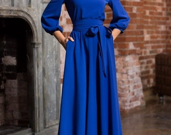 Long woman dress floor Royal blue Autumn Winter Spring with belt 3/4 sleeves Evening with pockets Elegant maxi blue dress Wedding Maxi dress