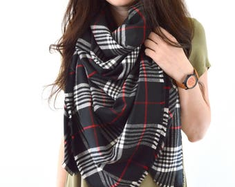READY TO SHIP Large Plaid Blanket Scarf, Tartan Scarf, Fringed Scarf, Zara Inspired Fashion Scarf