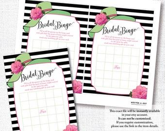 GROßER Hut BINGO rosa, Kalk, Hut Dusche, Hochzeit, Brautdusche Spiel, Karte, sofortiger Download, druckbare, digitale Datei