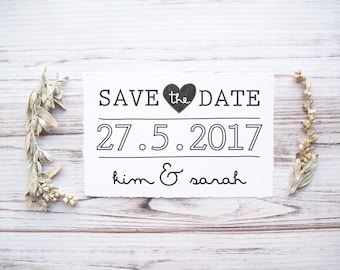 Save the Date Stamp , Custom Wedding Stamp with Names , Engagement Announcement, Wedding Photo Stamp