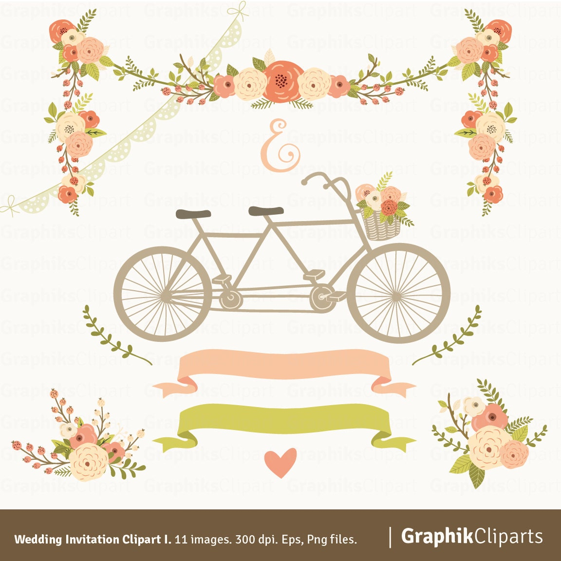 Wedding Invitation Clipart I. Floral Garland Tandem Flowers