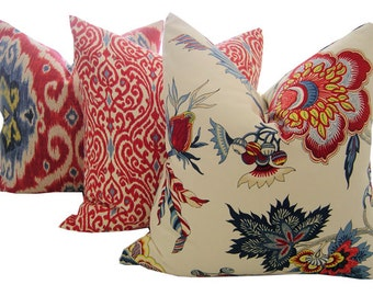 Jacobean Pillows - Floral Pillow Covers - Samoan Iman Pillows - Decorative Pillows - Red Pillows - Red Cushions - Iman Pillows - Euro Shams
