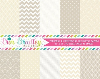 80% OFF SALE Digital Scrapbook Papers Personal and Commercial Use Beige and Cream Medley