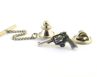 Gun Tie Tack in Sterling Silver Ox Finish- Gun Pin- Gifts For Men