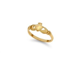 14k solid gold baby claddagh ring. child's ring, baby jewelry.