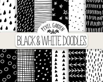 Hand Drawn Doodle Digital Paper. Black & White Geometric Doodle Patterns. Monochrome Chevron, Polka Dot Background. Minimalist Digital Paper