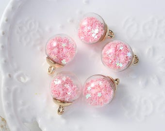 5 charms in the shape of glass and Metal Gold 2.2 cm Globe / pink star