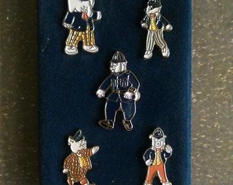 Rupert Characters Set of Enamel Badges