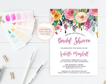 Bridal Shower Invitation, Bridal Shower Invite, Floral Bridal Shower Invitation, Printable Bridal Shower Invitation, Bridal Shower [410]
