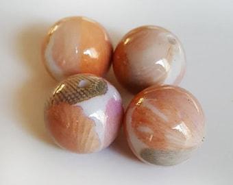 20mm Orange White Gray Petal print Acrylic round beads - 6pcs