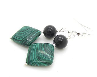 Green Malachite Gemstone Earrings, Stone Drop Earrings, Green and Black Real Stone Dangles, Large Drop Earrings, Jewellery gift For Her