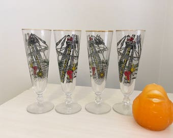 PILSNER PIRATE GLASSES, Set of 4, Beer Mug, Gasparilla Parade, Tampa, Ipa Beer, Mid Century Modern, Vintage Barware, 1970's at Modern Logic