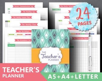 """Teacher Planner Printable """"TEACHER BINDER"""" Study Lesson Planner Student Planner Lesson Planner Classroom Organization PDF Instant Download"""