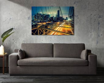 Printed Canvas Picture Art New York City NYC Bridge Stretcher Frame Strips Included - Free Shipping - Home Decor Photography
