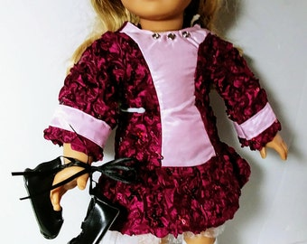 Feis Dress in Maroon and Pink for Dolls