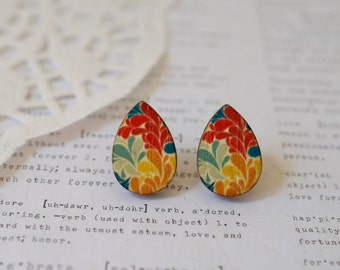 Wooden Teardrop Colourful Leaf Stud Earrings