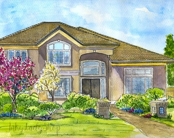 Watercolor custom house portrait. Home drawings. Custom house painting. Watercolor custom. Painting of home. Paint my house. Wedding gift.