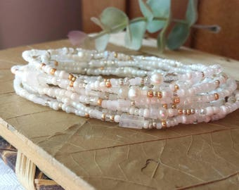 Venus Pearl, Moonstone and Crystal Extra Long Seed Bead Wrap Bracelet  - Wear as Necklace Bracelet and More