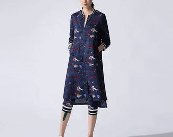 Womens Loose Fitting Fashion Stand Collar Zipper Printed Floral Linen Blouses And Pants Two Pieces Set, Casual Blouses,Casual Pants For Lady