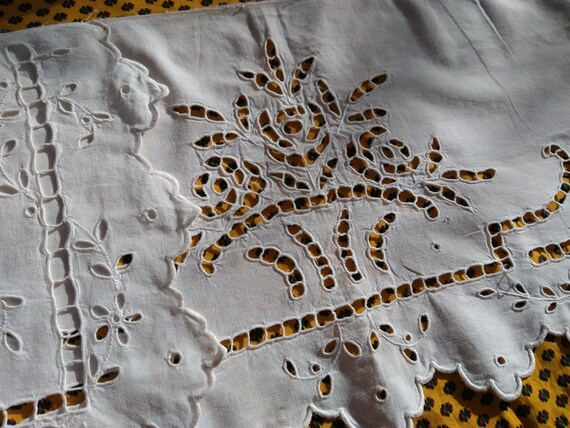 Victorian Richelieu Lace Panel Antique French White Cotton Floral Basket Cut Work Hand Embroidered Sewing Project #sophieladydeparis