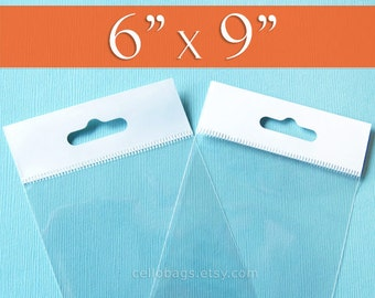 500 6 x 9 Inch HANGER TOP Clear Resealable Cello Bags Packaging for Pegboard Display