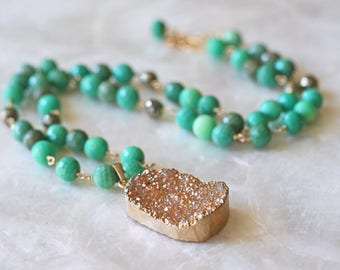 Druzy Necklace, Ready to Ship, Chrysoprase Necklace, Green Stone Necklace, Big Druzy Necklace, Beaded Druzy Necklace
