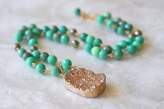 Druzy and Chrysoprase Beaded Necklace