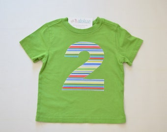 Boys 2nd Birthday Shirt, Size 2T, Lime Green Multi Colored Stripes, Applique Number 2, Short Sleeve, Second Birthday Tee, Ready to Ship