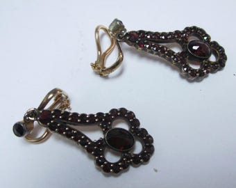 Pair antique sterling with garnet earring and 14k gold back