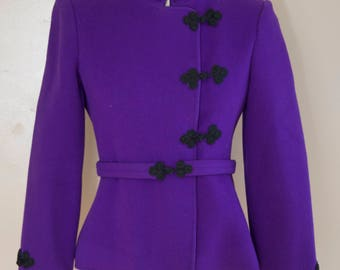 70s DONALD BROOKS deep purple cleanly tailored frog closure blazer w/ sash belt vintage 1970s 4