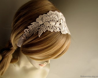 Lace Headband Lace Choker Wedding Lace Headband Wedding Lace Choker Ivory Bridal Headband Ivory Choker Bridal Accessory Bridal Hair Wrap