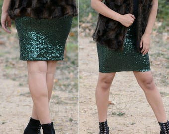 Forest Green Pencil Sequin Skirt - Stretchy, beautiful knee length skirt (S,M,L,XL) Made in LA! Ships asap!