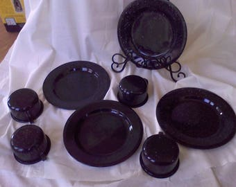 Enamel Ware Blue and White  plates and cups service for 4, camping dishes, speckle ware