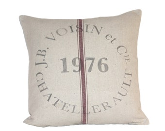 French Farmhouse Vintage JB Voisin Grain Sack Pillow, Industrial Loft, Country Style, Cottage Living,