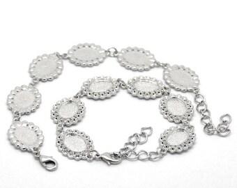 Bracelet 6 Cabochons Ovale dentellé + 6 cabochons verre
