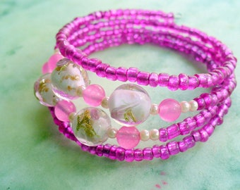 Memory Wire Bracelet, Pink Bracelet, Wire Wrap Bracelet, Pink Flower, Pink Jewelry, Gift for Her, Glass Beads, Pink Jade Gemstone
