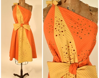 50s / 60s Asymmetrical Orange & Yellow Rhinestone Dress w Belt // Old Hollywood Glamour, Pinup Perfection