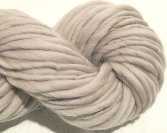 Handspun Yarn Solid Pewter  110 yds merino wool waldorf doll hair knitting supplies bulky thick and thin yarn