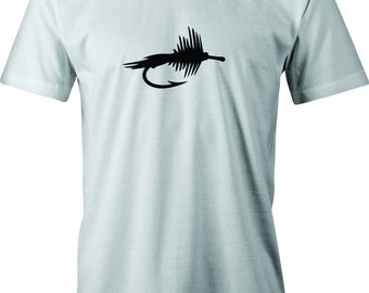 Fly Fishing Dry Fly Drawing print on T shirt.  Free Shipping