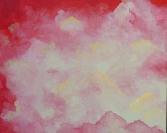 Tableau Abstrait Peinture rouge doré nuage Abstraction Décoration Format moyen carré 40 x 40 cm / 16 x 16 inch