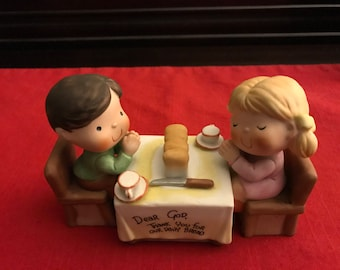 "DEAR GOD KID'S**Dear God Thank You For Our Daily Bread** Figurine . 3.5"" L*** Enesco 1982"