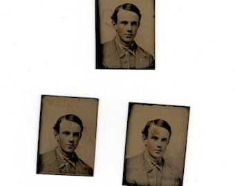 Three duplicate gem tintype antique photos