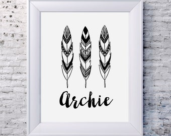 MONOCHROME ARROW TRIO  Birth Announcement Print  / Kids Room Decor/ Kids Wall Art / Nursery Wall Art / Personalised Prints