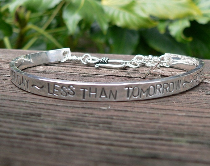 Extra-Thick Wide Heirloom Quality Custom Sterling Silver Stamped Clasped Cuff Bracelet - Your Own Message Hand Stamped Inside and/or Outside