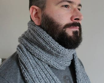 Gray Scarf - Gray Scarf - Knitted Gray Scarf - Mens Scarf - Ready to ship