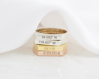 Roman Numerals Ring - Custom Name Ring - Personalized Geometric Ring - Coordinates Ring - Engagement Gift - Stocking Stuffers